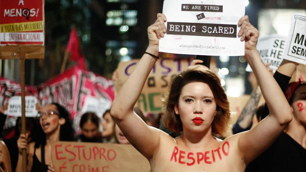 """Brazilian women protest against the country's """"machismo."""" © 
