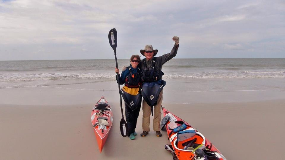 Darcy Gaechter and Don Beveridge post at the finish line of their Amazon trip © | Kayak the Amazon Facebook