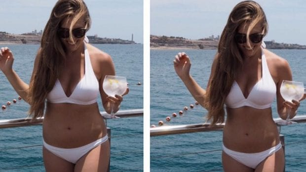 Amelia's Instagram post that compared her read body vs. a photoshopped image   © xameliax