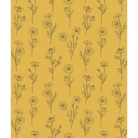 papier peint fleurs de camomille fond jaune lilipinso