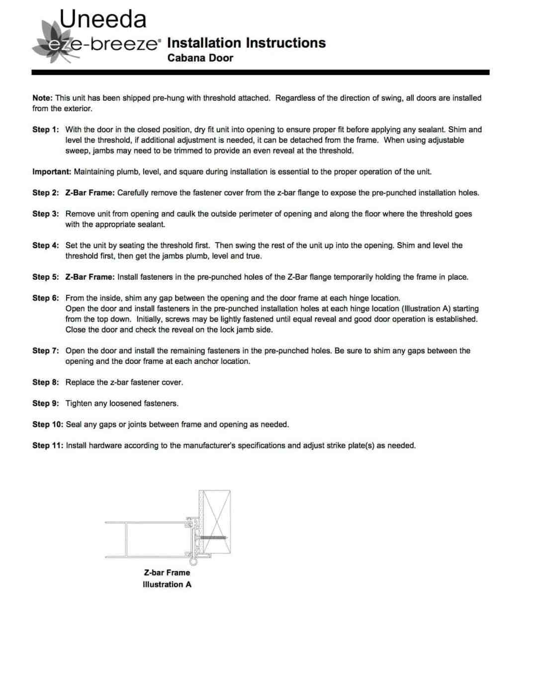 cabana installation instructions