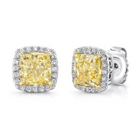 Uneek Cushion Yellow Diamond Halo Stud Earrings, in 18K ...