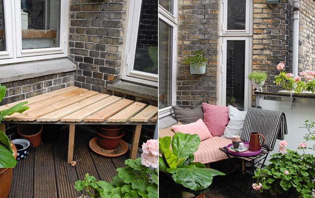 Les Idées Déco : Une Inspiration Astucieuse Lorsquu0027on A Un Balcon Riquiqui  Pour Une Banquette Douillette à Fabriquer Dans Un Angle.