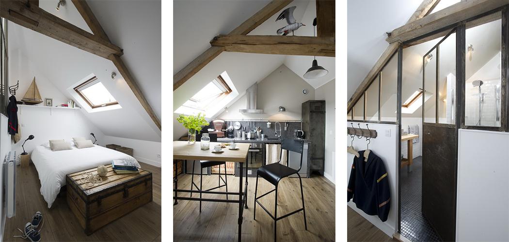 un studio mansard fa on mini loft une hirondelle dans. Black Bedroom Furniture Sets. Home Design Ideas
