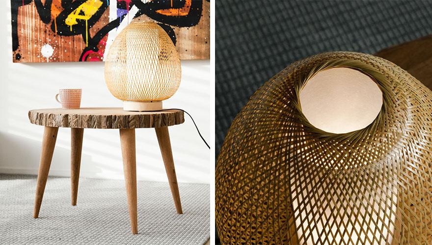 lampe tressee osier rotin bambou 8