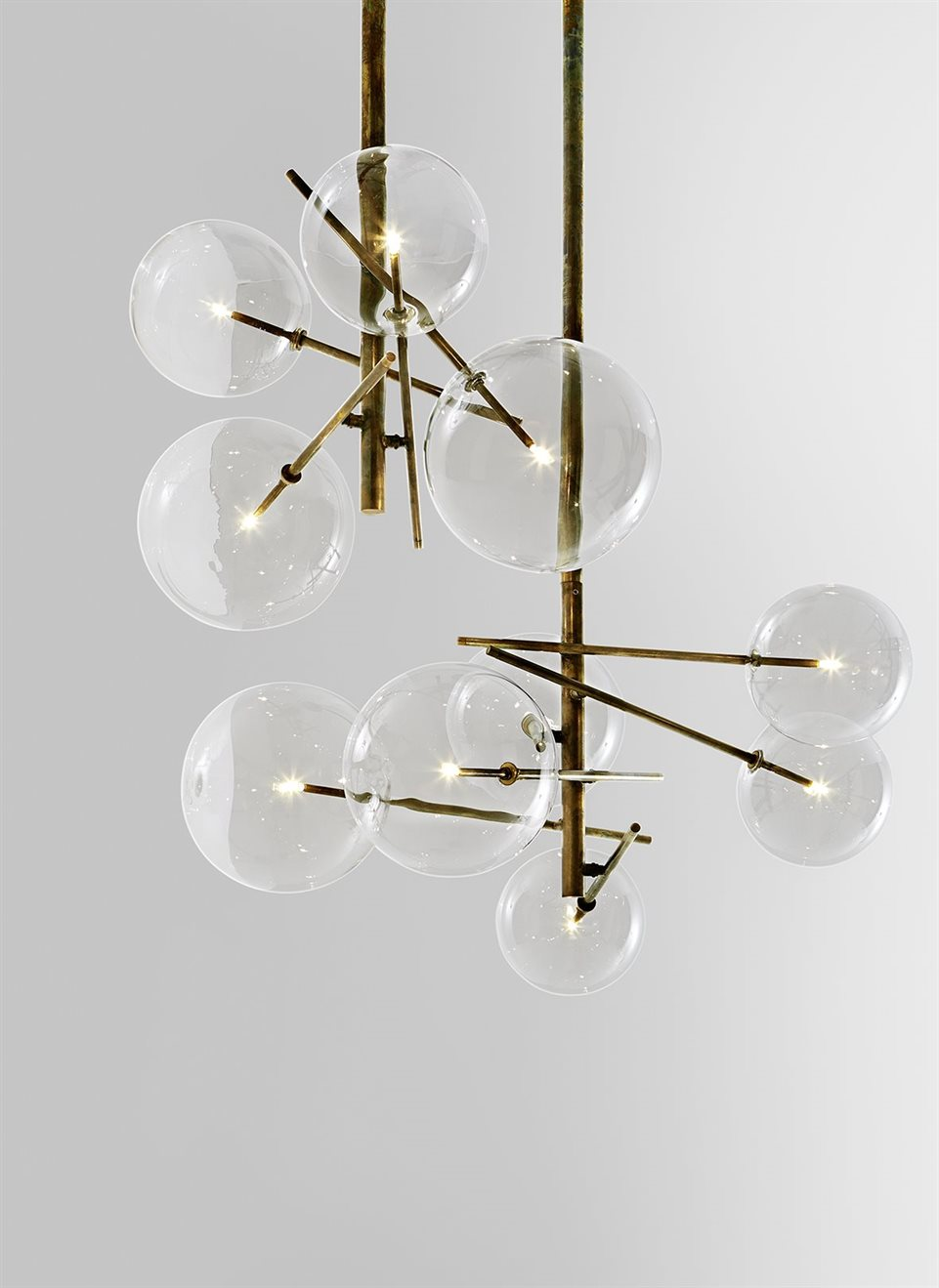 luminaire design verre et laiton 1
