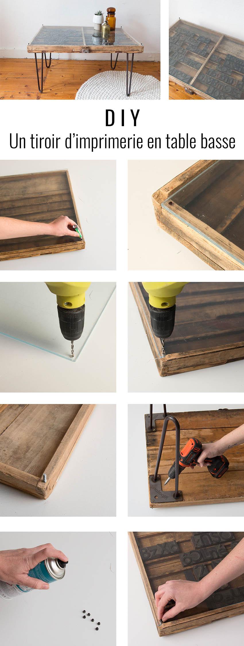 diy table basse avec un ancien tiroir d 39 imprimeur une hirondelle dans les tiroirs. Black Bedroom Furniture Sets. Home Design Ideas