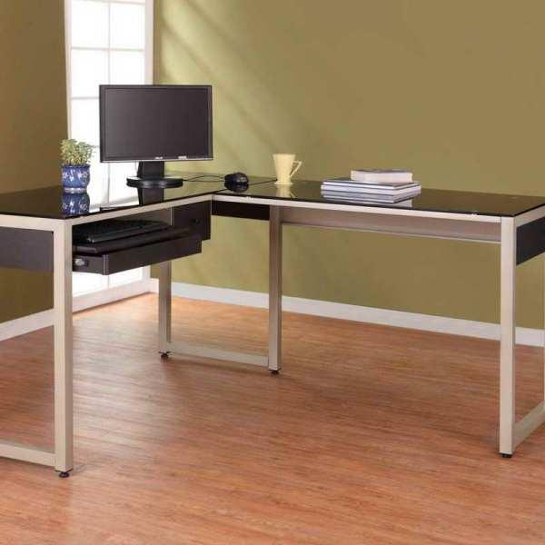 Glass L-shaped Office Desks for Home
