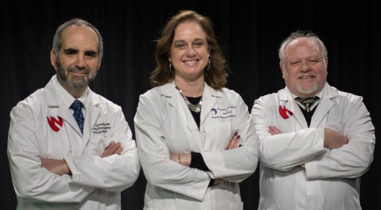 From left are Howard Gendelman, M.D., Pamela Santamaria, M.D., and R. Lee Mosley, Ph.D. (Photo: UNMC)