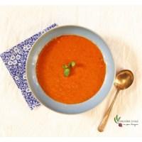 Potage de tomates et de poivrons rôtis