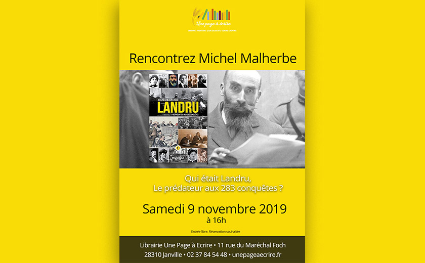 Rencontre avec Michel Malherbe sur le tueur Landru, samedi 9 novembre 2019