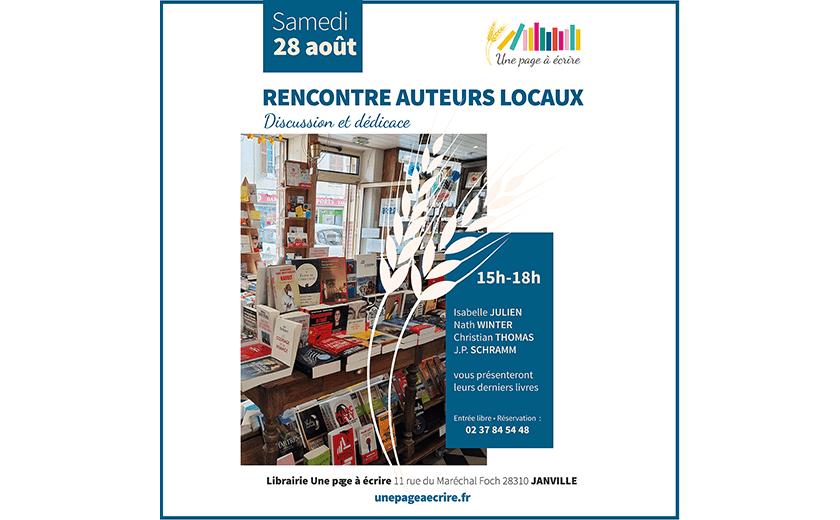 Samedi 28 août 2021, 15h-18h – Rencontre Auteurs Locaux