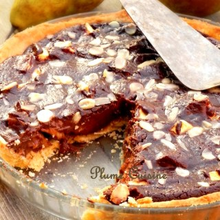 Tarte soyeuse au chocolat et poires