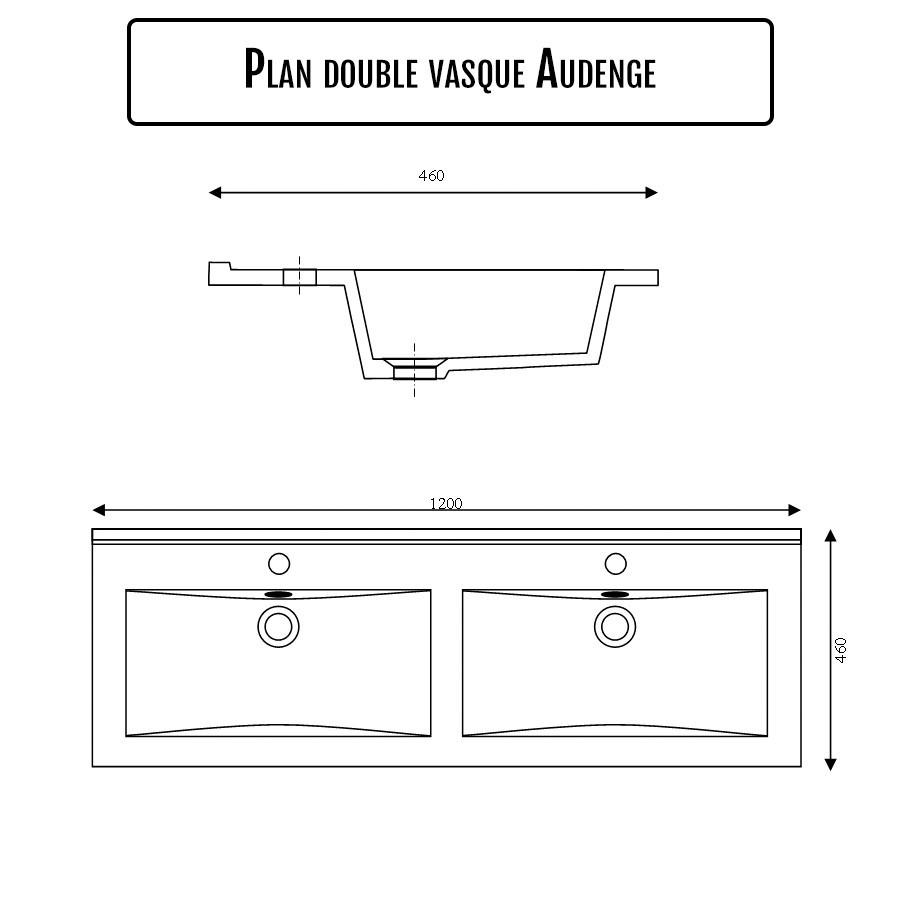 Plan Vasque Double En Ceramique De Salle De Bain