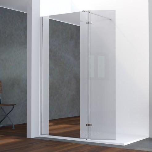 paroi de douche fixe avec retour 8 mm baya 100 40 cm et miroir