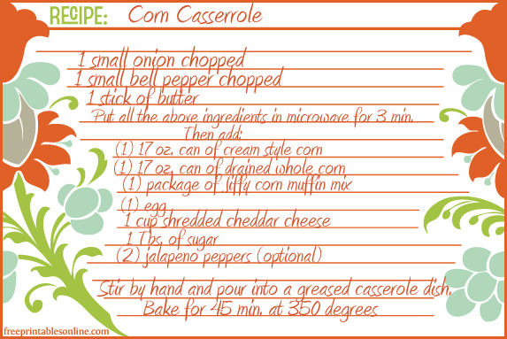 Corn Casserole Recipe Card