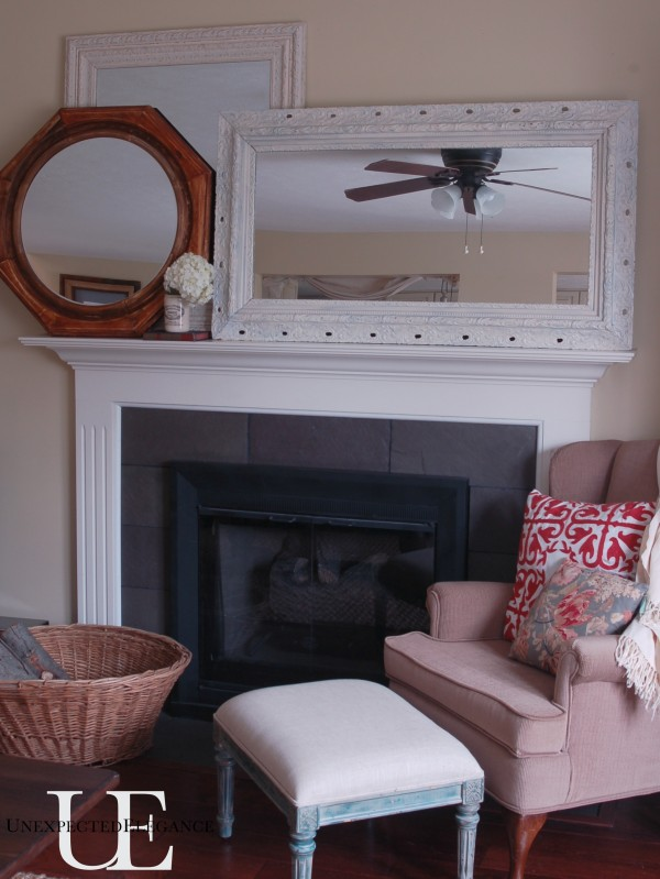 Fireplace with mirrors