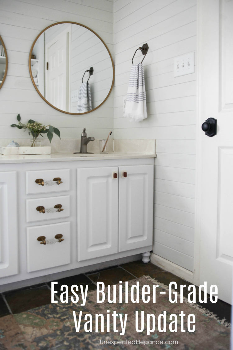 How To Transform A Builder Grade Bathroom Vanity For Less Unexpected Elegance