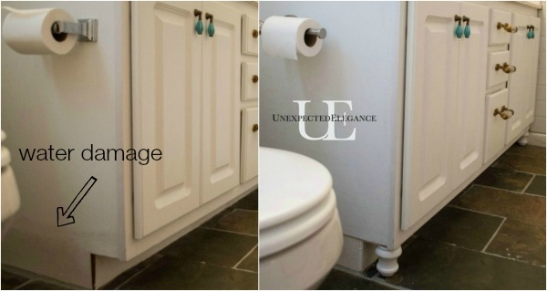 Transform a builder grade bathroom vanity with a few simple and inexpensive changes