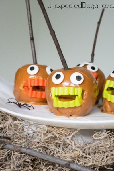 10 Minute Halloween Craft | Monster Caramel Apples