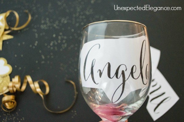 Get a quick tutorial for some fun New Year's Eve glasses. These personalized glasses can be given out as a favor or remove the names after the party and reuse!
