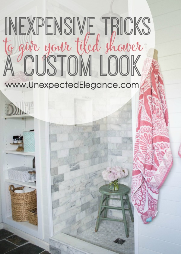 Do you want a custom tiled shower but don't think you can afford it?!?  Check out these 4 inexpensive tricks to give your tiled shower a custom look!