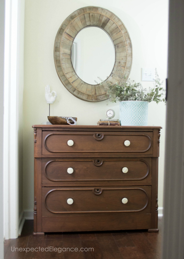 The easiest way to update a piece of furniture is changing out the hardware. Check out this super easy dresser maker!