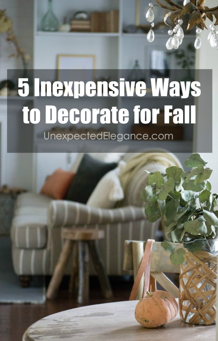 Want to decorate for fall but don't have it in the budget?!? Check out these 5 inexpensive ways to decorate for fall and get your home cozy this season!