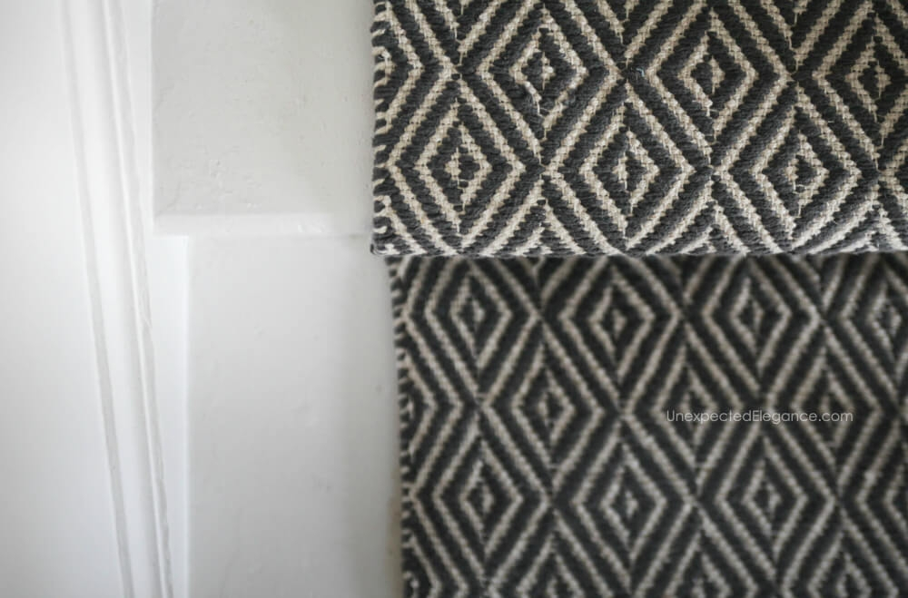 How To Replace Carpet With An Inexpensive Stair Runner For Around 100 | Black And White Stair Runners | Staircase | Hallway | Cool | Diy | Jute