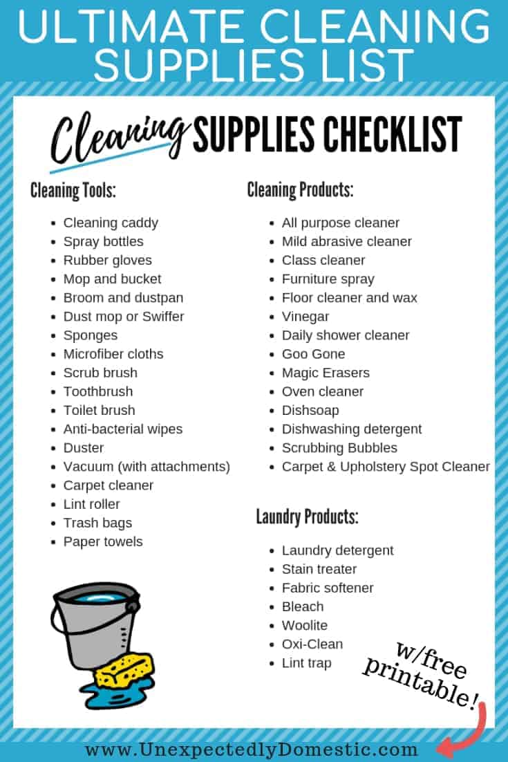 photograph about Cleaning Supplies List Printable named Supreme Cleansing Products List: Your Really should Include
