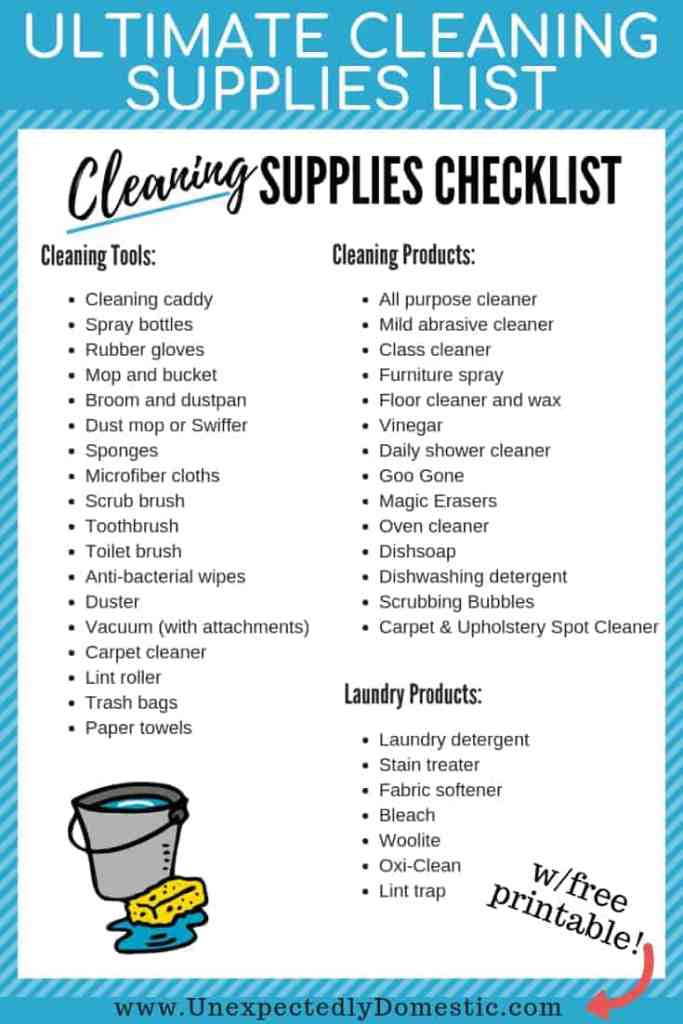 Use this cleaning supplies list printable to stock your home with the best cleaning products and tools for your kitchen, bathroom, and more!