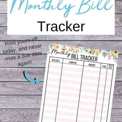 Free Printable Monthly Bill Tracker (to keep track of what's due!)