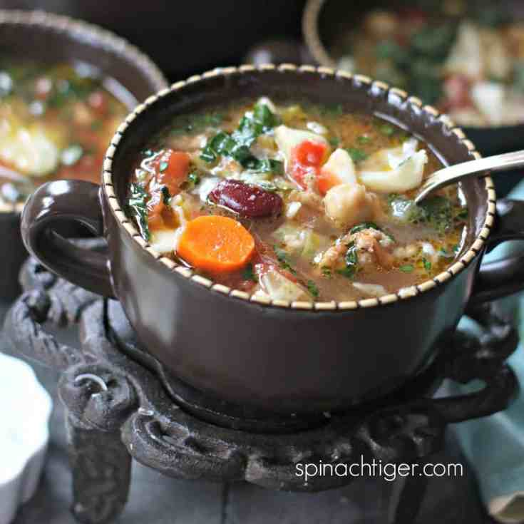 Italian Soup with Sausage and Spicy Olive Oil Drizzle