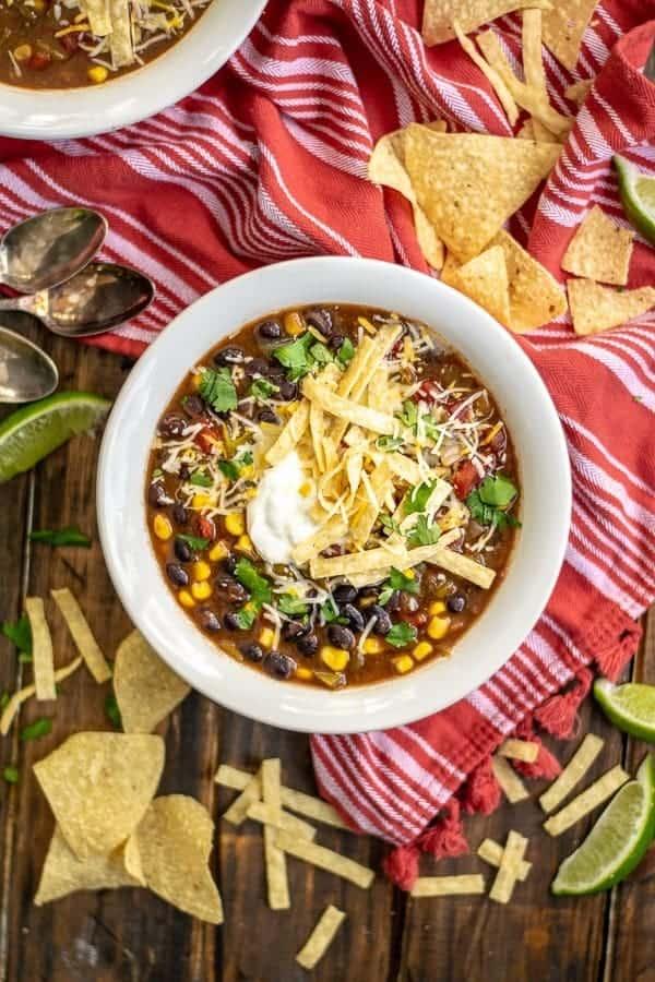 Slow Cooker Black Bean Tortilla Soup