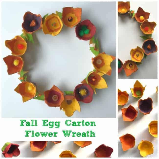 Lovely Fall Egg Carton Flower Wreath