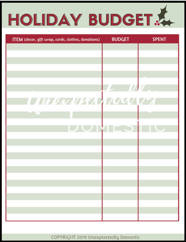 {Day 1} Christmas Budget Worksheet