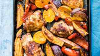 Baked Chicken Thighs and Sweet Potatoes