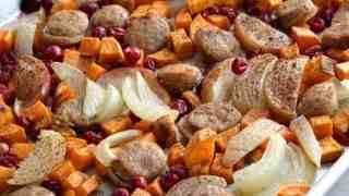 Cranberry Chicken Sausage Sheet Pan