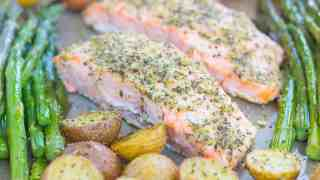 Garlic Herb Salmon with Roasted Potatoes and Asparagus