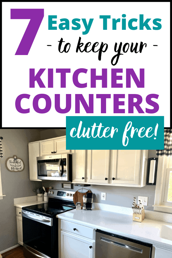 7 easy tricks to keep kitchen countertop clutter at bay! Use these kitchen counter organization ideas to clean and declutter the busiest room of your home.