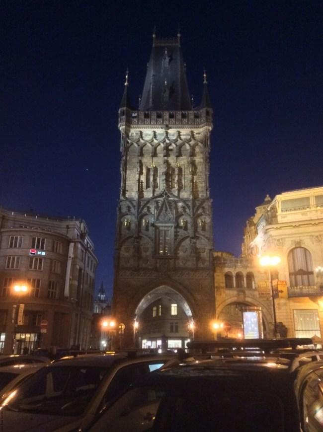 A photo of the Powder Tower by night - Prague, Czechia