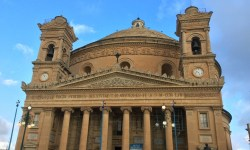 A photo of the facade of the Mosta Church - Mosta, Malta