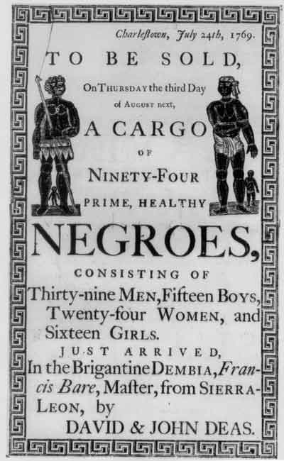 Poster annoucing sale of slaves in the USA.