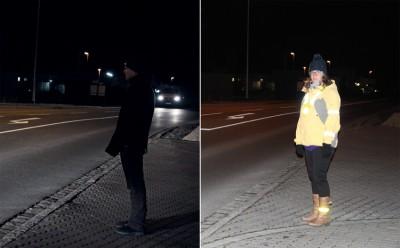 Bildunterschrift: Helle Kleidung und Reflektoren (im Bild rechts) steigern die Sichtbarkeit von ungeschützten Verkehrsteilnehmern im Vergleich zu dunkel gekleideten Fußgängern (im Bild links). Foto: ARCD.