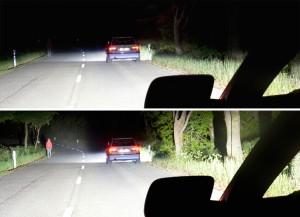 So intelligent kann ein Fernlicht sein: Es taucht den Fußgänger am Fahrbahnrand in helles Licht, ohne den Fahrer des vorausfahrenden Autos zu blenden. Foto: Hella.