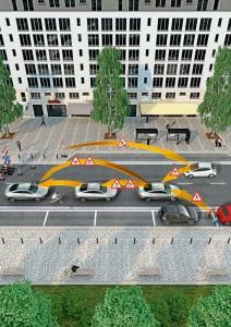 Die Vernetzung zwischen Fahrzeugen, schwächeren Verkehrsteilnehmern und Infrastruktur bietet mehr Potential für die Sicherheit. Grafik: Continental.