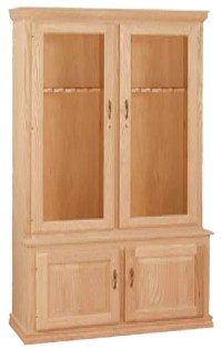 UNFINISHED TRADITIONAL FOUR DOOR GUN CABINET (HOLDS 12 ...