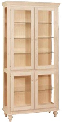 UNFINISHED FOUR DOOR CURIO CABINET: Unfinished Furniture