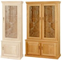 UNFINISHED TRADITIONAL FOUR DOOR GUN CABINET (HOLDS 10 ...