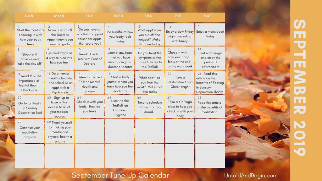 September is a great time of year to assess your physical, emotional, and mental health needs. Use this September calendar to get you on track. #ExtremeSelfCare #SelfCare #MentalHealthNeeds #EmotionalHygiene #SeptemberCalendar #SeptemberTuneUp